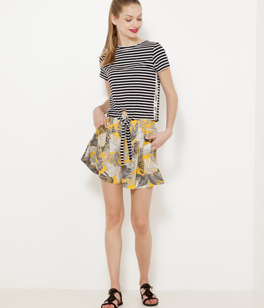Top cropped femme rayé