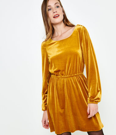 Robe velours jaune