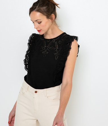 Top femme broderie