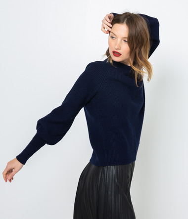 Pull long col montant femme