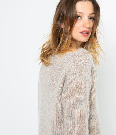 Pull grosse maille brillante femme