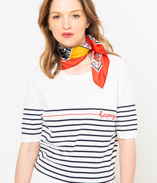 Pull rayé femme manches courtes