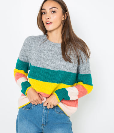 Pull rayures matière recyclée femme