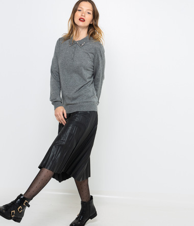 Pull col polo femme
