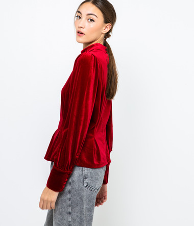 Top velours col montant femme