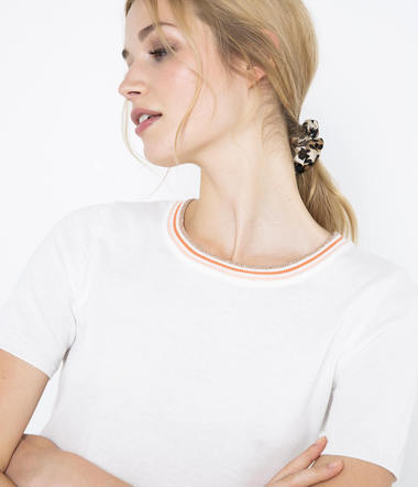 Pull fin bandes sporty femme