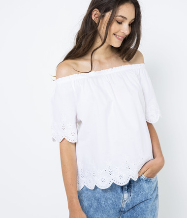 Blouse finition broderie femme