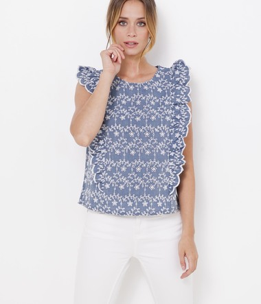 Blouse volants et broderie anglaise femme