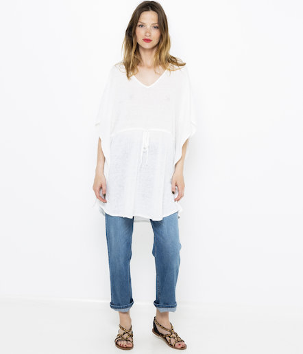 Pull large lin coton femme