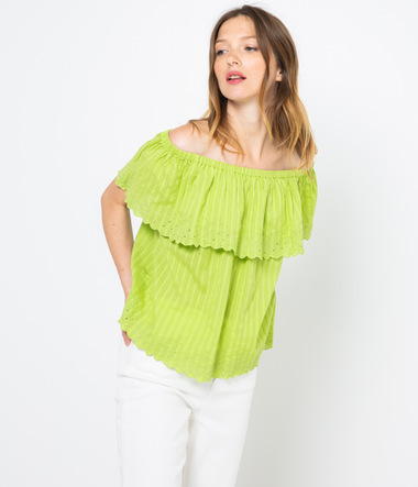 Top open shoulder brodé femme