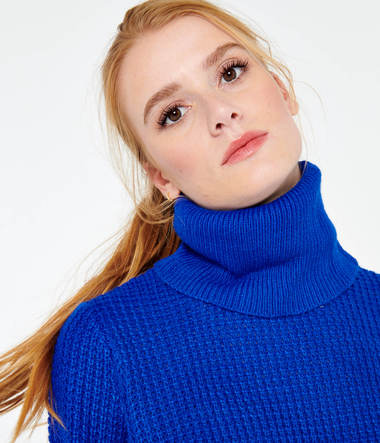 Pull maille col roulé femme