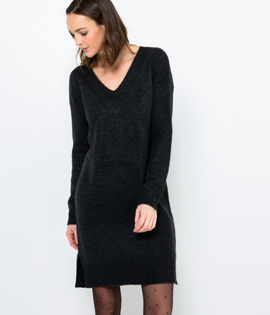 Robe pull en maille mousseuse