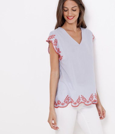 Blouse col V femme broderies anglaises