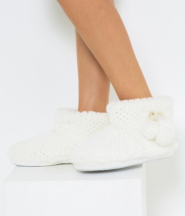 Chaussons fausse fourrure femme