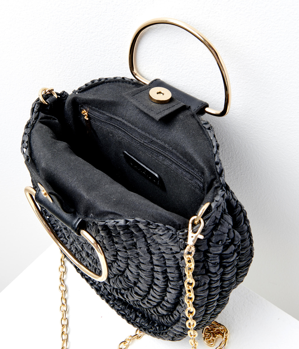 Sac rond paille femme
