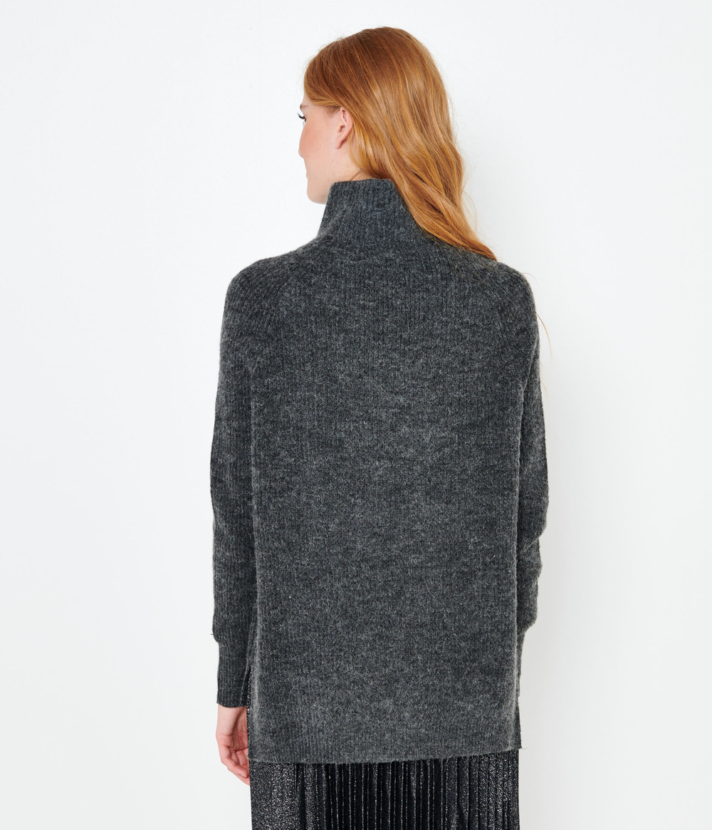 Pull maille recyclée col montant femme